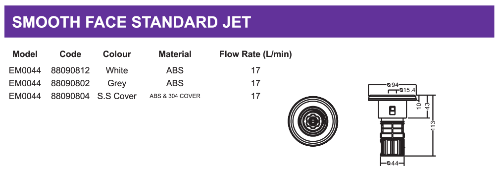 EMAUX EM0044 SMOOTH FACE STANDARD JET DIMENSIONS