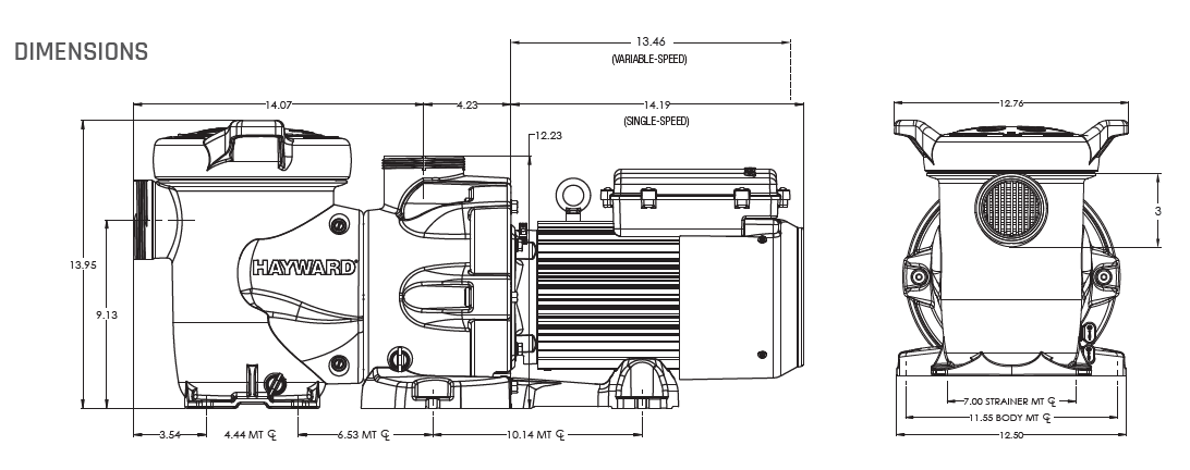 Hayward HCP3000 Series Pump Dimensions